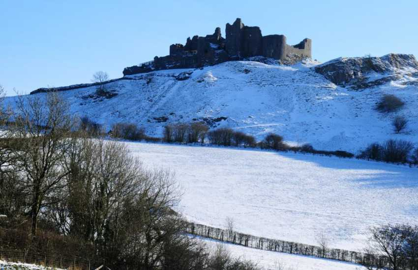 The ruins of Carreg Cennen Castle are enchanting at all times of the year