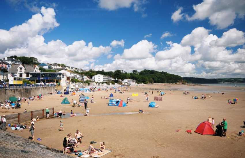 The harbour village of Saundersfoot right by the beach - one of the most popular in South Pembrokeshire