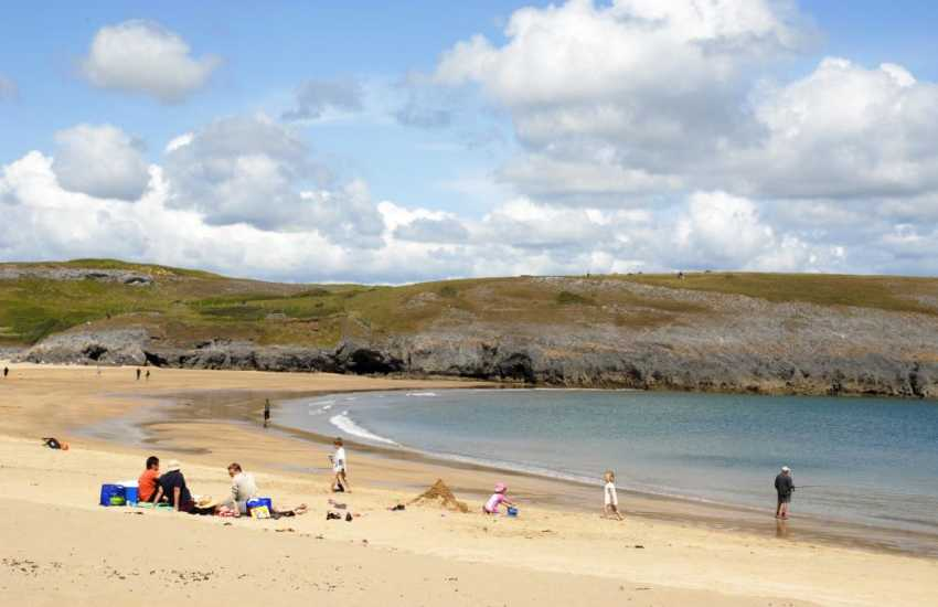 Broad Haven South (N.T) is a fabulous golden sandy beach near Bosherston Lily Ponds a short drive away on the south coast