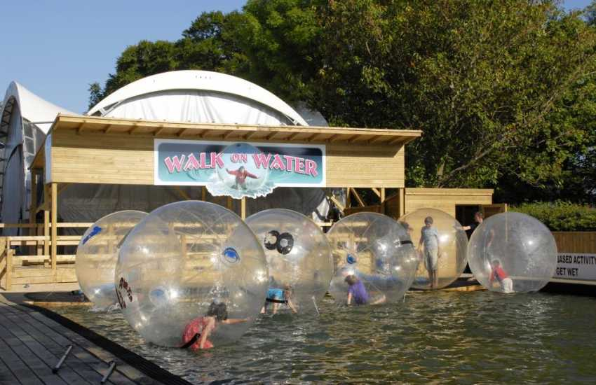 'Walk on Water' at Heatherton Country Sports Park Near Tenby - harder than it looks!