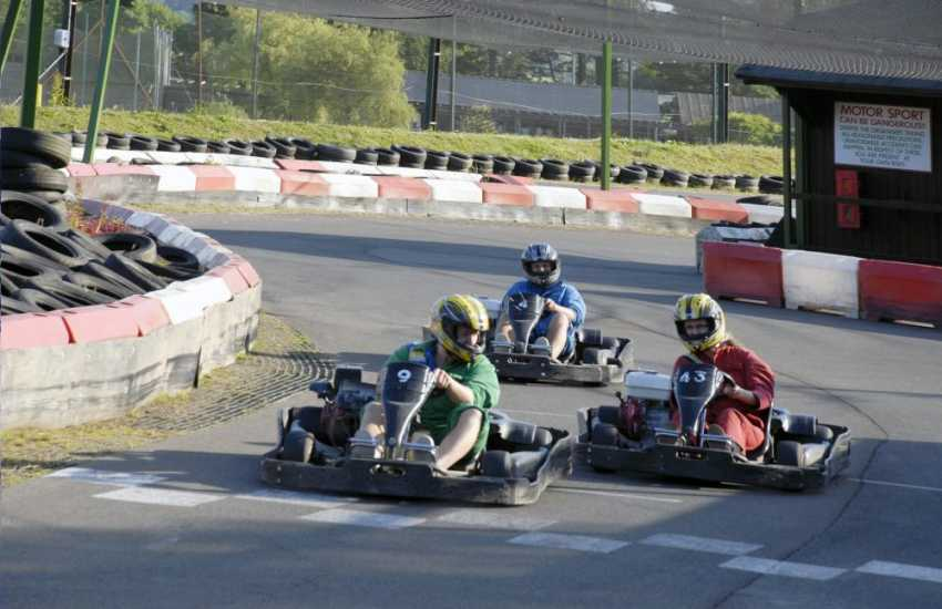 Go-karting at Heatherton Country Sports Park, Tenby. Exciting activities for all ages and a great day out!