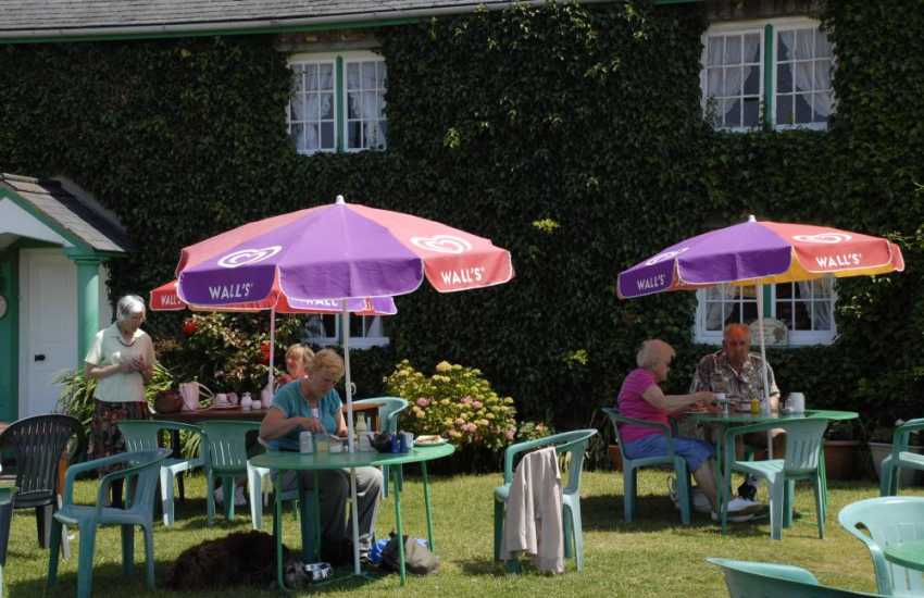 Taking tea on the lawn at 'Ye Oldie Worlde Cafe' in Bosherston - a must whilst on holiday in Pembrokeshire!