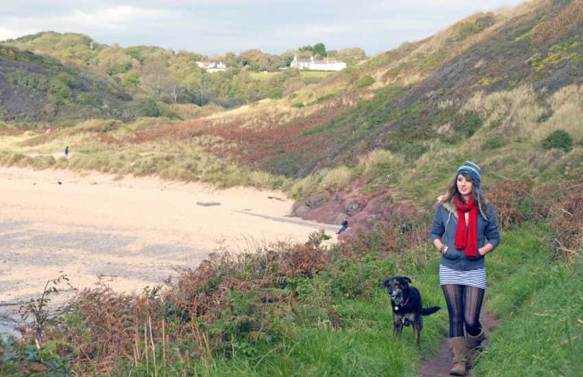 Walking on the Pembrokeshire Coast Path at Manorbier - Many of our Cottages welcome your pet