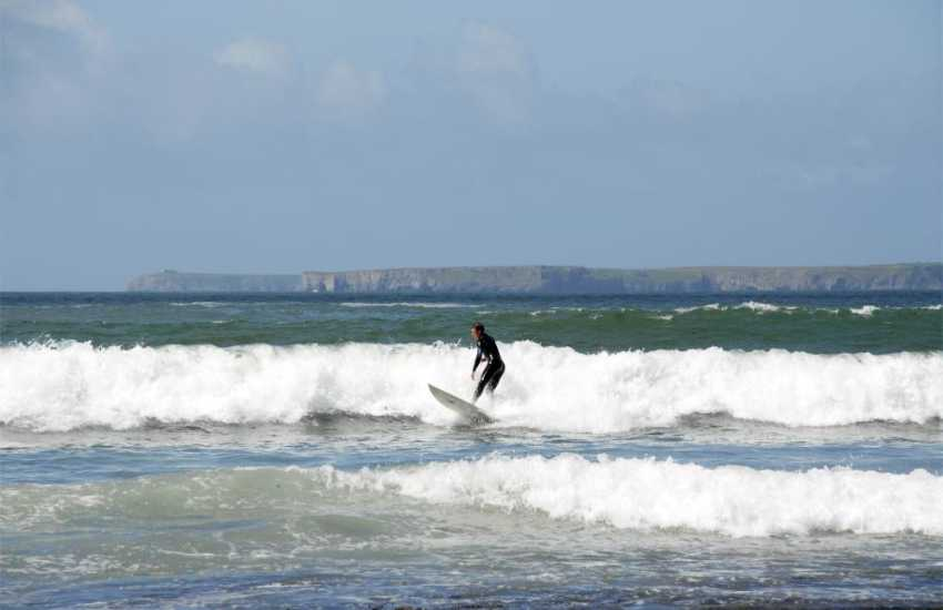 Manorbier and Freshwater West are two of the most popular beaches in Pembrokeshire for the surf