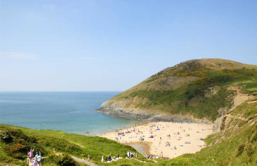 Mwnt cove NT - wonderful sand. One of a number of equally stunning beaches on this stretch of Heritage Coast. The dolphin colony are regular visitors