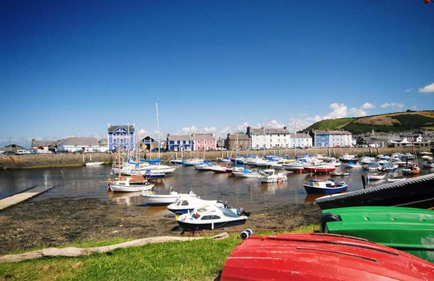 Aberaeron harbour town has a variety of interesting little craft shops, cafes and the award winning Harbourmaster Restaurant is well worth a visit