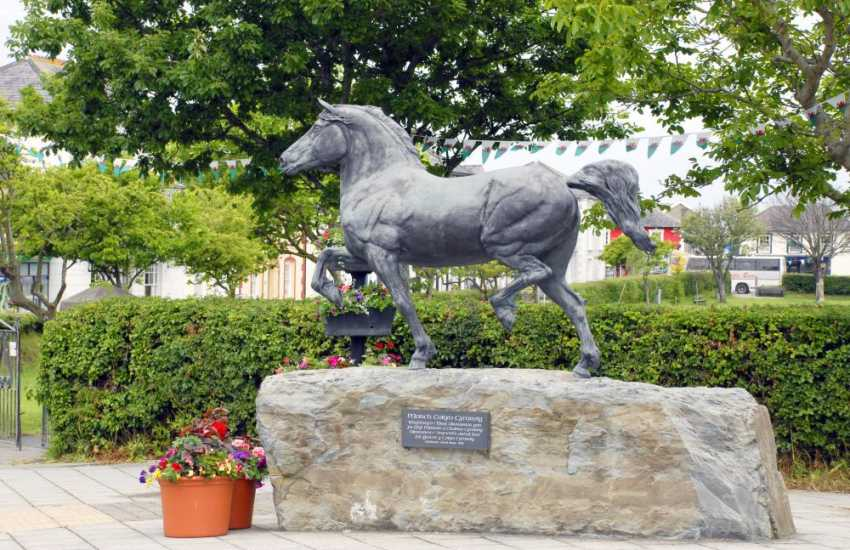 A magnificent statue of a Welsh Cob Stallion - donated to the town by The Aberaeron festival of Welsh Ponies and Cobs