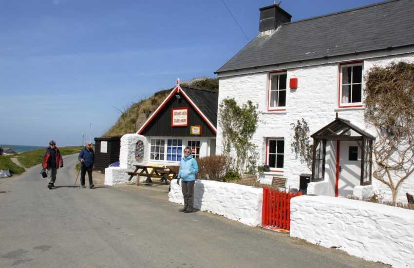 Cwm Tydu has a little tea room and take away right on the beach