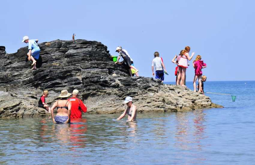 Rock pooling, fishing and messing about in the water at the nearby seaside village of Llangrannog