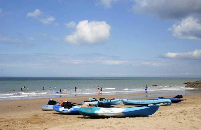 Down on the beach at Tresaith - great for some sea kayaking
