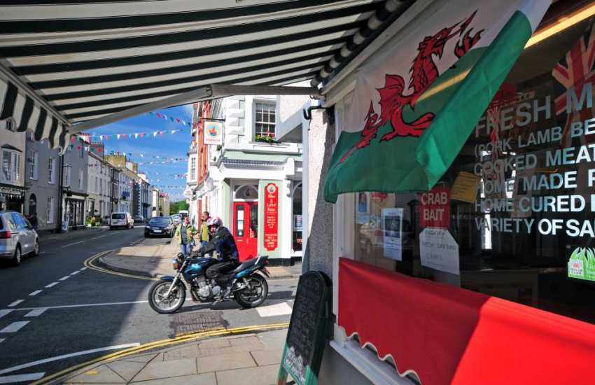 Beaumaris town centre, a pretty seaside town with a good choice of eating places,  good local butchers and bakeries