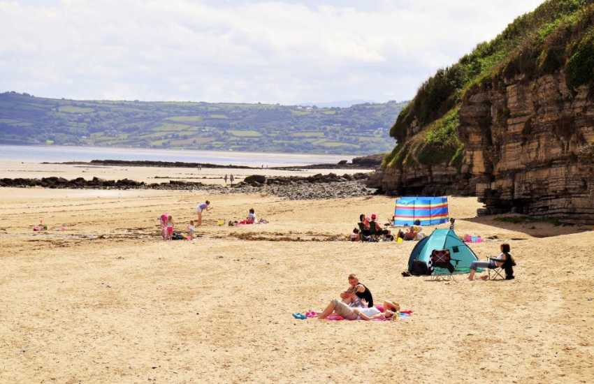 The lovely beach at Benllech with its clean yellow sand and plenty of space for families or a quiet sunbathing spot