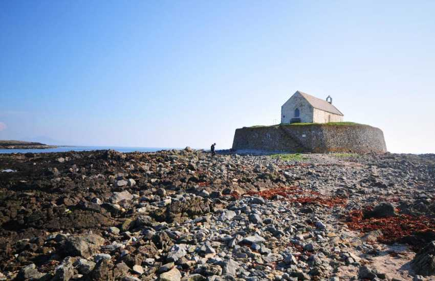 Church in the sea, St Cwfan's just outside the village of Aberffraw
