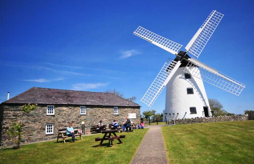 Llynnon mill at Llanddeusant, the only remaining working windmill in Wales. The mill produces stone ground flour using organic wheat
