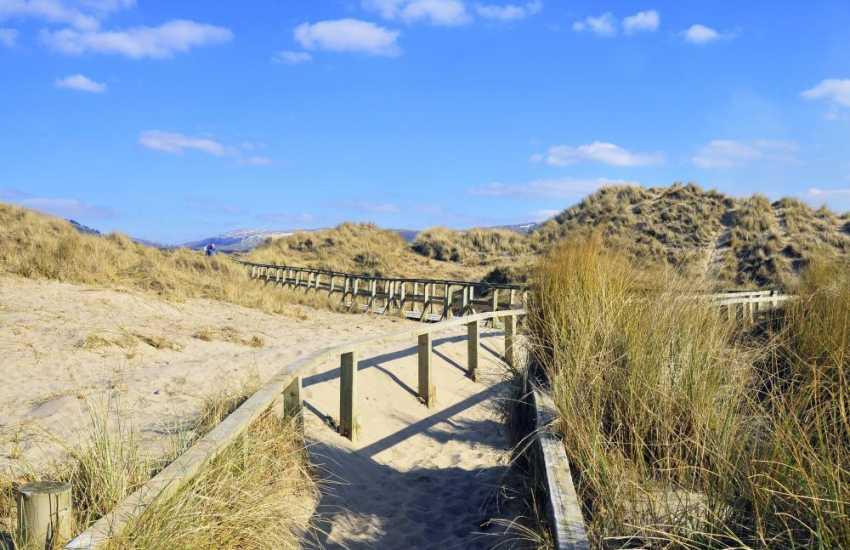 Benar beach near Harlech, a long sand stretch of sand all the way to shell island