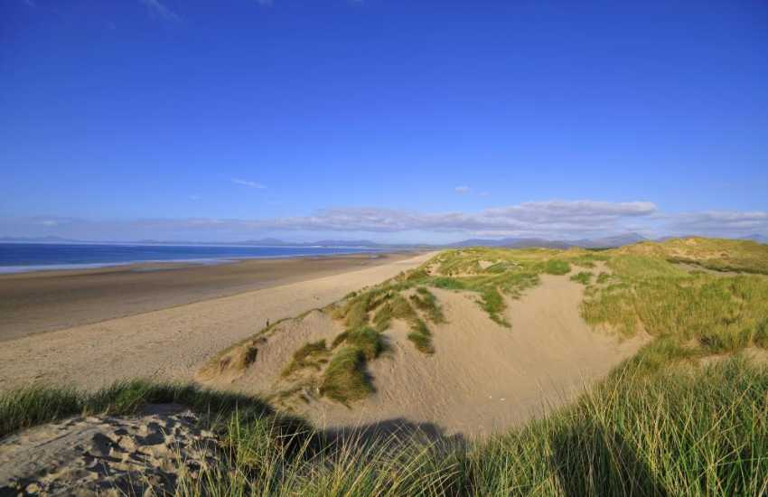 Harlech Beach a good mile of sand and dunes where you can walk for hours or enjoy a picnic with the family