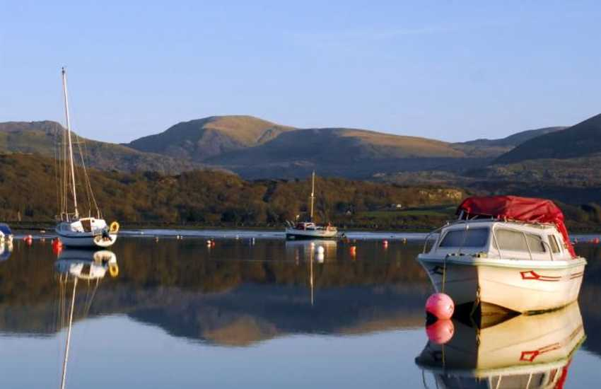Moorings on the lagoon at Llandanwg near the historic town of Harlech.