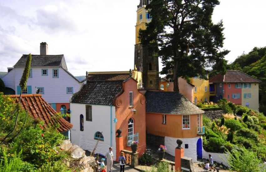 On the northern shore of Tremadog Bay - Portmeirion famous for its architecture, pottery and the 60's TV series 'The Prisoner'
