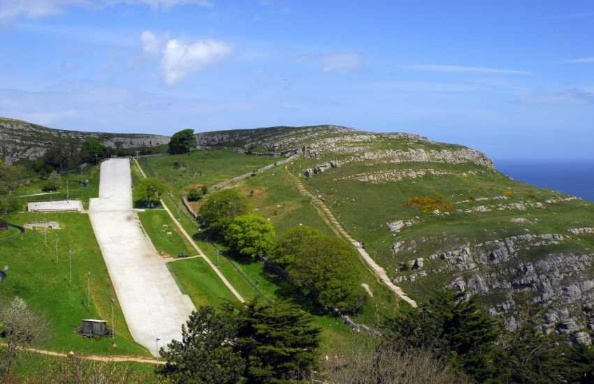The dry ski slope at Llandudno, skiing and snow boarding lessons are available - also toboggan, Snow-tubing and golf, open all year round