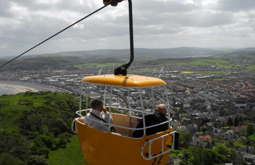 The Great Orme cable car ride with spectacular views of the coast and mountains