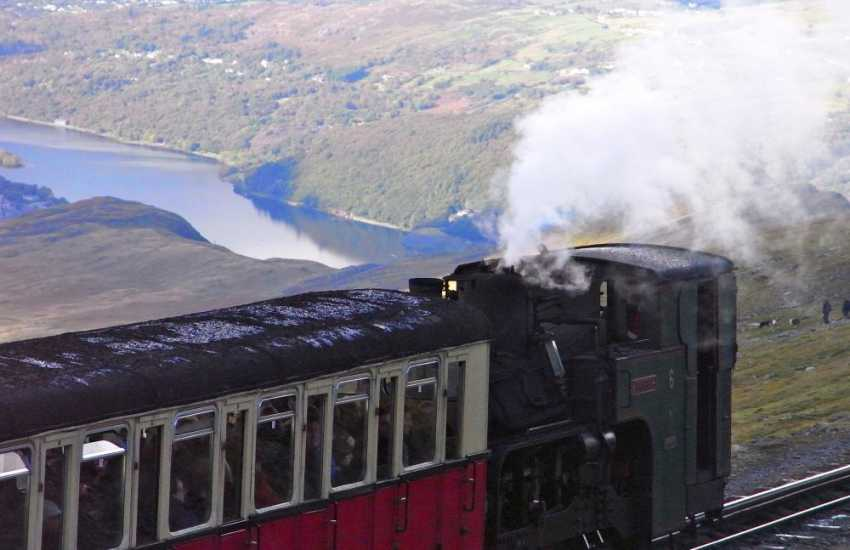 Snowdon mountain railway close to the summit on its decent