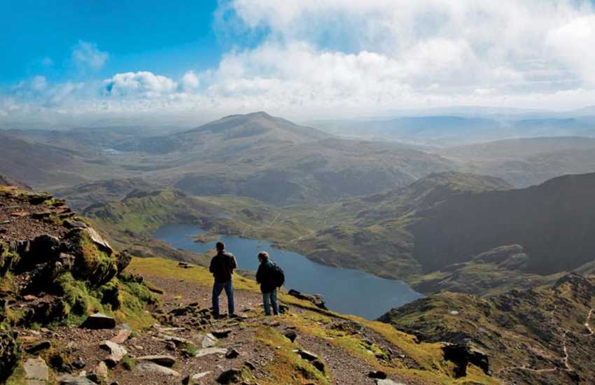 Stunning views from the summit of Snowdon the highest mountain in Wales (3,560ft) above sea level