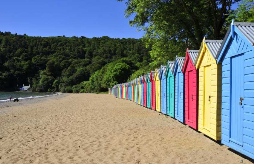 Llanbedrog beach and colourful beach huts