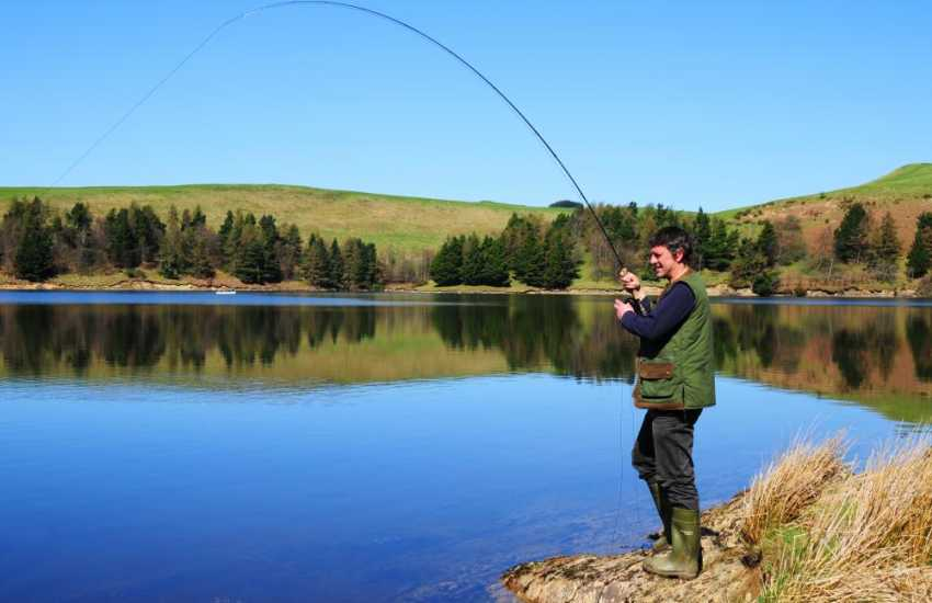 Fishing at Clywedog Reservoir. One of many peaceful places to spend the day with a rod and a picnic