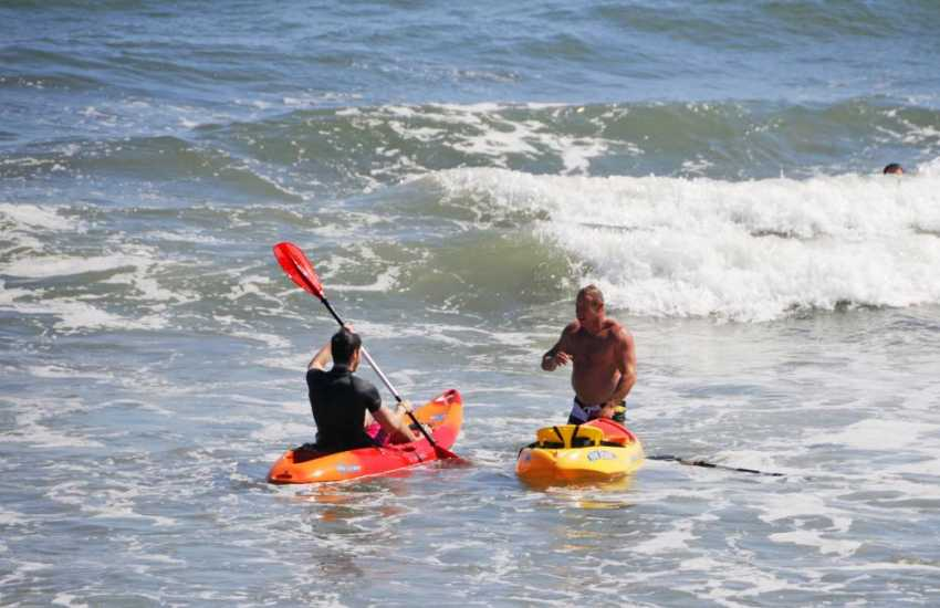 Sea kayaking in the waters around the Pembrokeshire coast