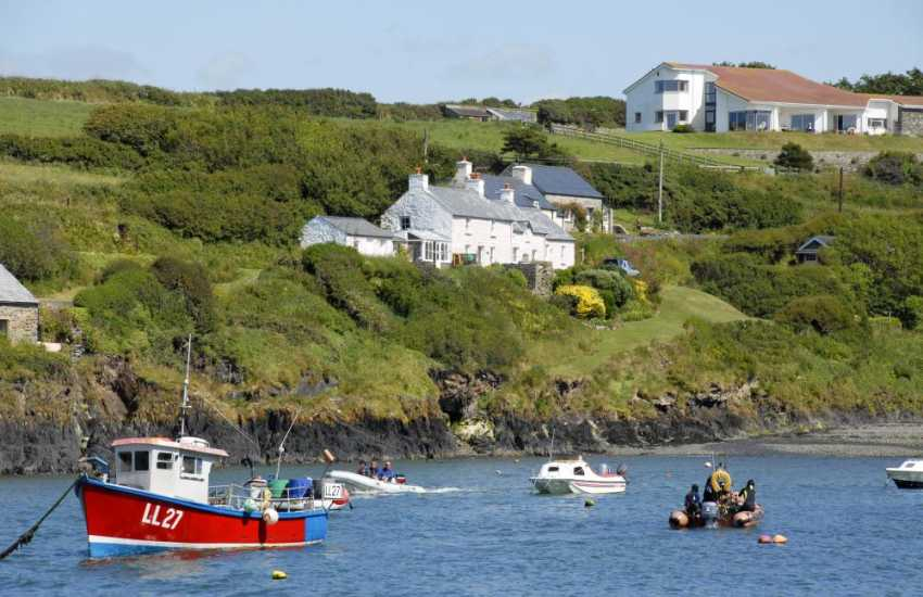 Picturesque Abercastle is popular for swimming, diving, kayaking and fishing
