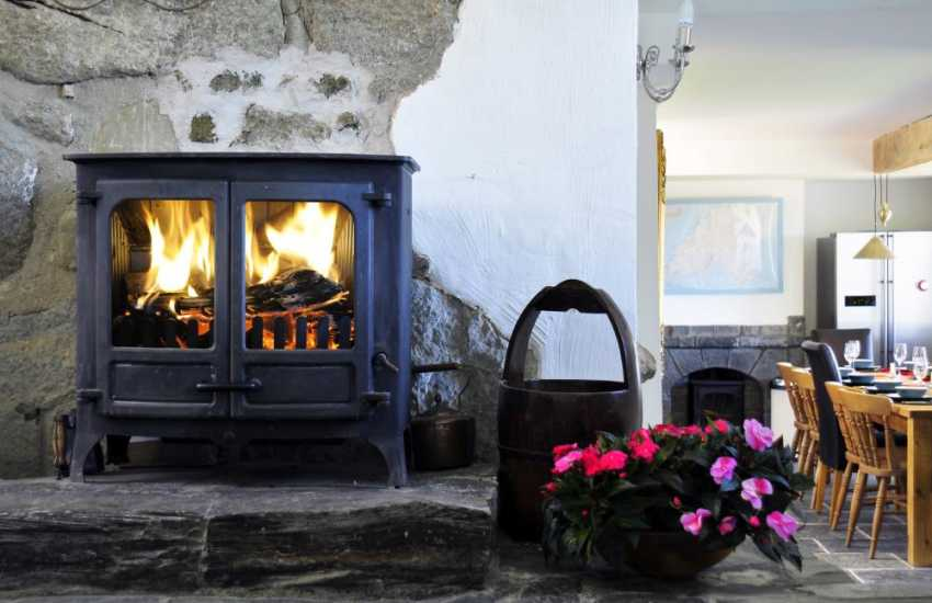 One of 3 log burners in luxury Aberdaron holiday cottage