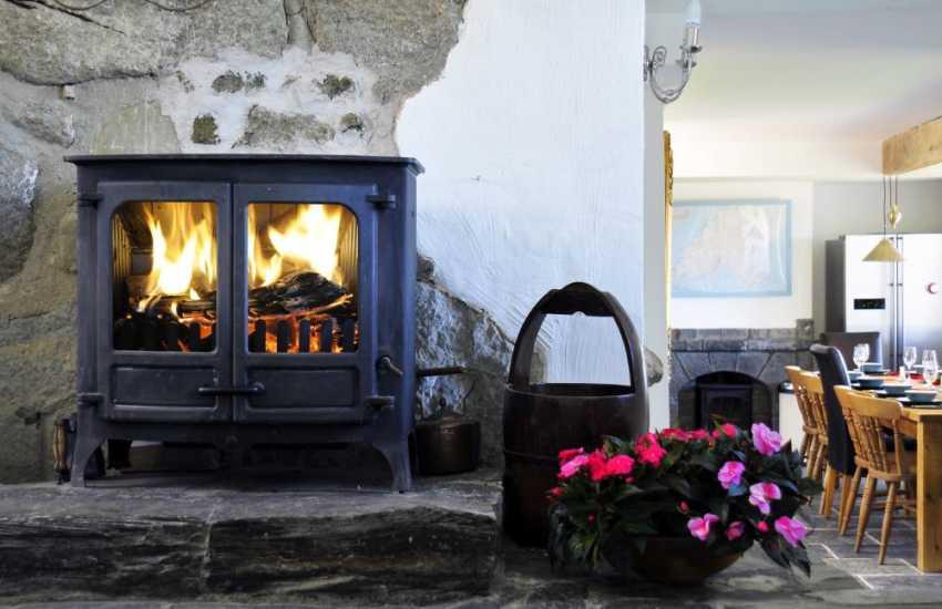One of 3 log burners in luxury Aberdaron holiday cottage
