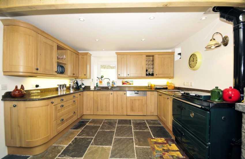Luxury kitchen with Aga in holiday cottage near Aberdaron