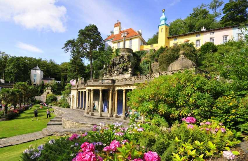 On the northern shore of Tremadog Bay, Portmeirion famous for its architecture, pottery and the 60's TV series 'The Prisoner'