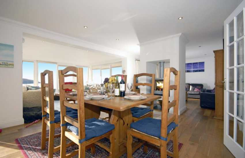 Cardigan Bay luxurious holiday house with oak floors - open plan dining area