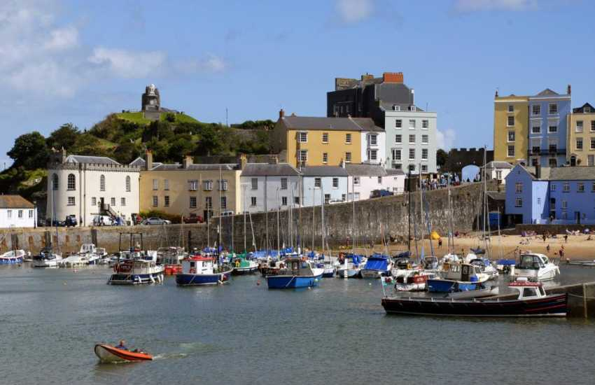 The medieval walled town of Tenby with its picturesque harbour is a popular seaside resort