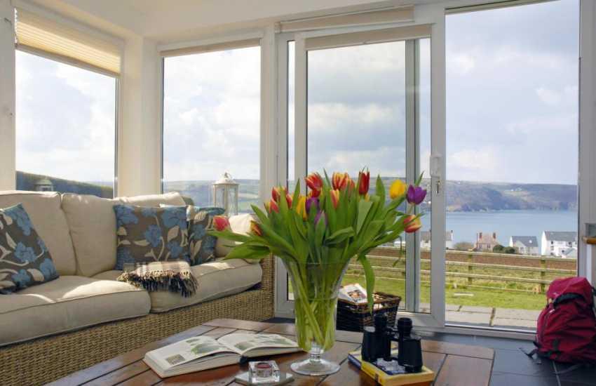 Stunning views through the sun room patio doors to the Teifi Estuary and beyond