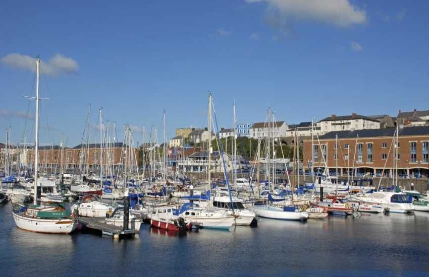 Milford Marina with its shops, cafes, bars, restaurants and fabulous yachts