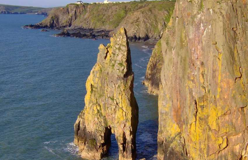 Impressive 'Needle Rock' juts out of the sea along the coast nearby - home to nesting seabirds