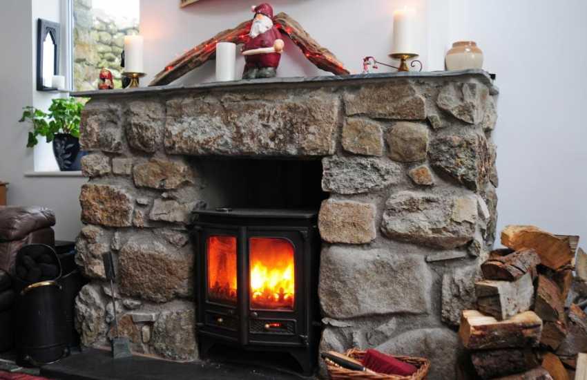 Welsh cottage on coast - log burner