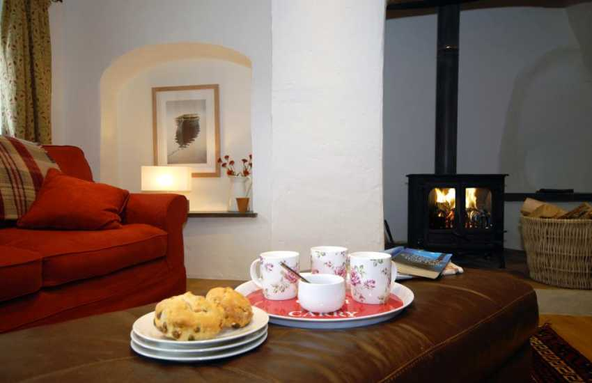 Enjoy tea and cake and lazy afternoons by the fire in Gilberts Cottage