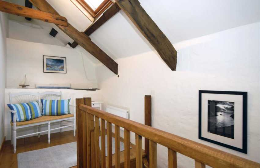 Coastal cottage for rent North Pembrokeshire - landing with 'A' frame ceilings
