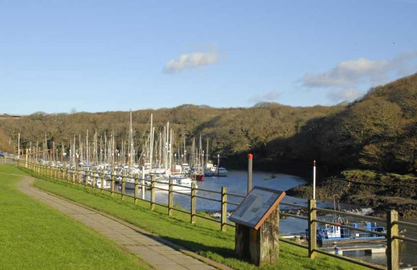 Neyland Marina has a chandlery, restaurant and cafe which overlooks an array of expensive multi-coloured yachts
