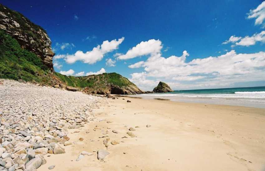 Secluded Monkstone Beach lies between Tenby and Saundersfoot along the Pembrokeshire Coast Path