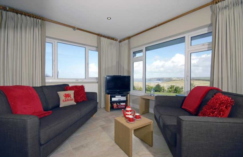 Panoramic views of the Pembrokeshire coast from the family room
