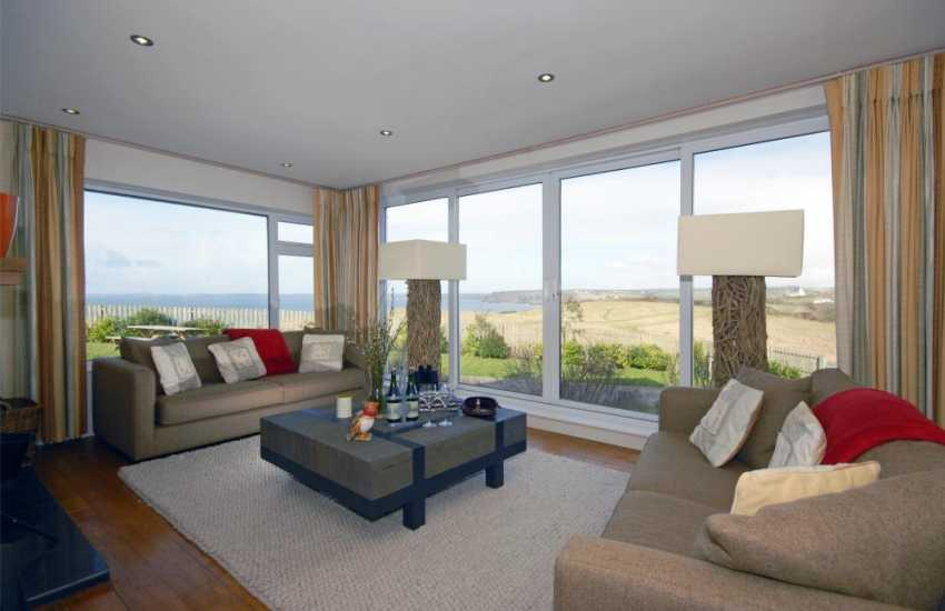 Little Haven modern holiday home - lounge with panoramic sea views over St Brides Bay
