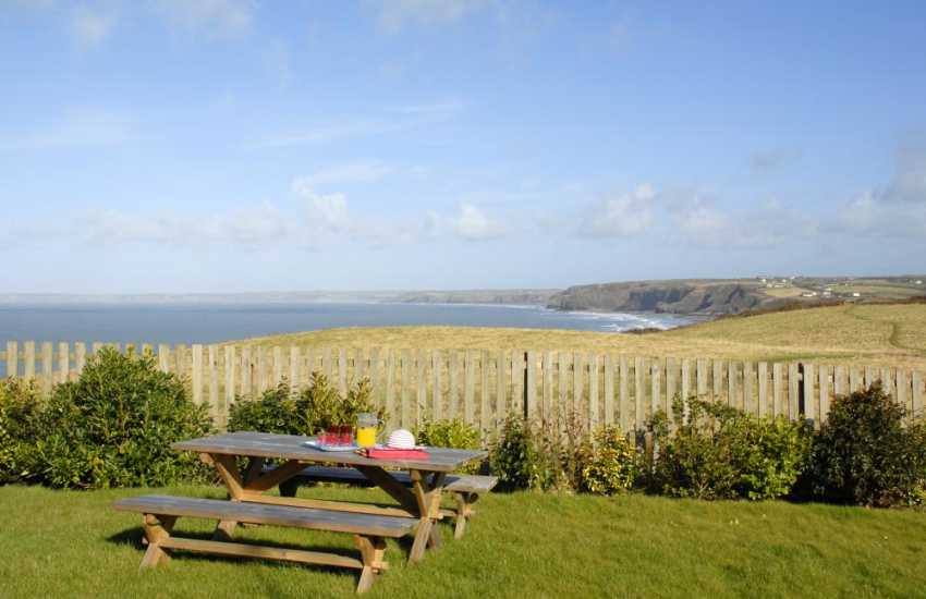 Enjoy fabulous sea views over the wide sweep of St Brides Bay from the gardens