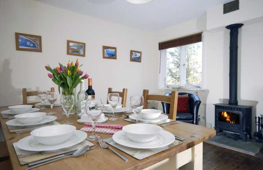 Cardigan Bay holiday home open plan living with log burning stove