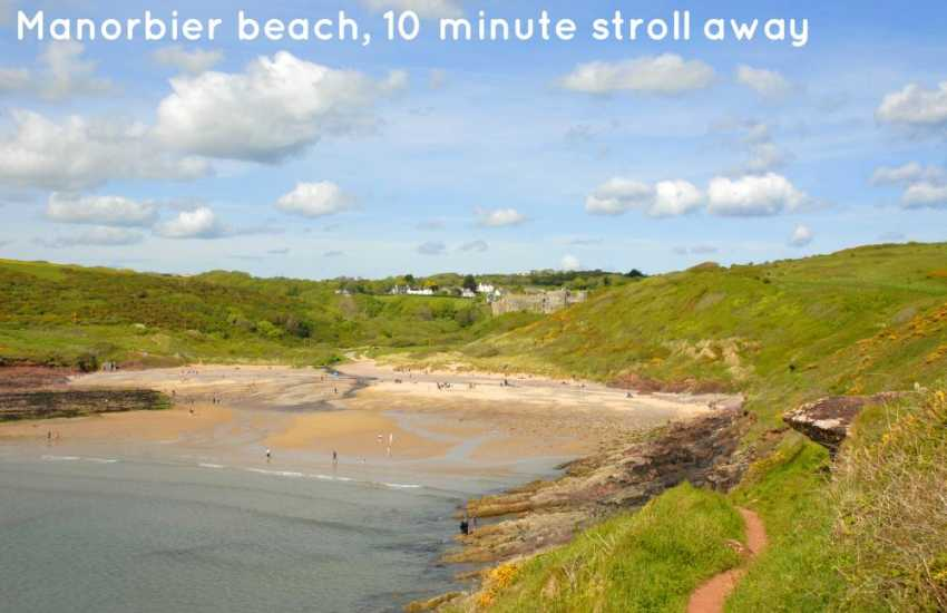 Manorbier Beach, overlooked by the magnificent castle, is a 10 minute stroll away