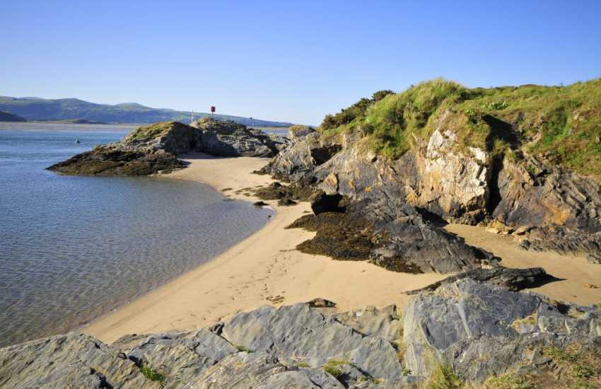 Borth y Gest a pretty seaside village with sandy beach and quiet harbour near Porthmadog, Criccieth, Portmeirion and Snowdonia